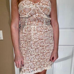 ARYN K cream lace with peach strapless dress